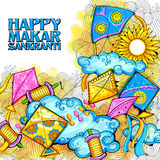 Happy Makar Sankranti wallpaper with colorful kite string for festival of India Stock Photo