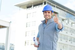 Happy male architect gesturing thumbs up Royalty Free Stock Photography