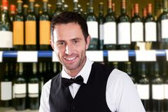 Happy male bartender. Portrait Of Happy Male Bartender In Bar Stock Photography