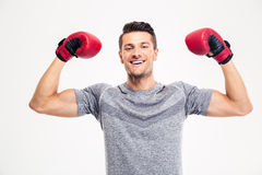 Happy male boxer celebrating his success Royalty Free Stock Images