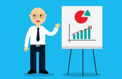 Happy male business man near an interactive whiteboard. vector illustration