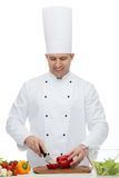 Happy male chef cook cooking food Stock Photo