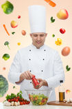 Happy male chef cook cooking food Stock Photography
