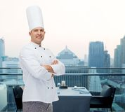 Happy male chef cook with crossed hands Stock Photography