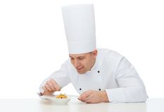 Happy male chef cook decorating dish Stock Photography