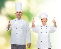 Happy male chef cook showing thumbs up Stock Photo