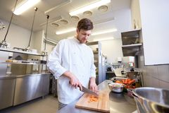 Happy male chef cooking food at restaurant kitchen Royalty Free Stock Photos