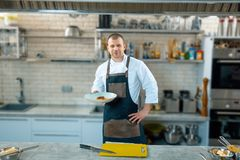 Happy male chef presenting the dish in commercial kitchen royalty free stock images