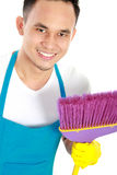 Happy male cleaning service Royalty Free Stock Photos