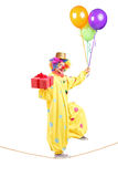 Happy male clown walking on a rope with bunch of balloons and pr Stock Photos