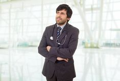 Doctor. Happy male doctor, at the hospital Royalty Free Stock Photography