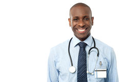 Happy male doctor with stethoscope Royalty Free Stock Images