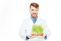 Happy male engineer showing a modified plants. Isolated on a white background Stock Photos