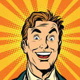 Happy male face, smile. Pop art retro vector illustration Royalty Free Stock Photography