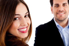 Happy male and female stock photos