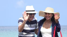 Happy Male And Female Tourists On Summer Vacation. Stock video in 4k or HD resolution stock footage