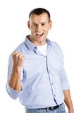 Happy male with fist up Stock Photos