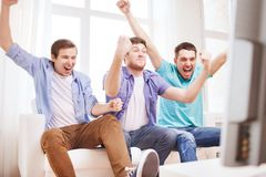 Happy male friends at home Royalty Free Stock Image