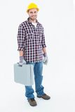 Happy male handyman with toolbox Royalty Free Stock Photos