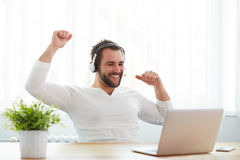 Happy male operator with headset and notebook. In the office Royalty Free Stock Photography