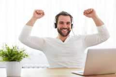 Happy male operator in the office Stock Photography