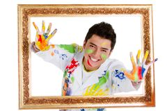 Happy male painter Royalty Free Stock Photo