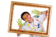 Happy male painter Royalty Free Stock Photos
