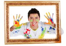 Happy male painter Royalty Free Stock Photography