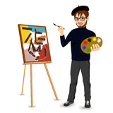Happy male painter artist with glasses Stock Photo