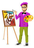 Happy male painter artist with glasses Stock Photography