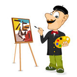 Happy male painter artist with mustache Royalty Free Stock Image