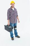 Happy male repairman with toolbox Royalty Free Stock Photos