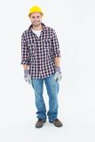 Happy male repairman wearing hard hat Stock Image