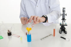 Happy male scientist working. At the laboratory Stock Images