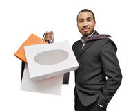 Happy male shopping Royalty Free Stock Image