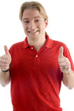 Happy male showing both thumbs up Stock Image