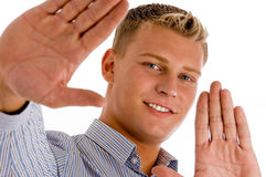 Happy male showing his palms Royalty Free Stock Photos