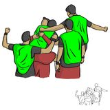 Happy male soccer player team after goal vector illustration ske. Tch doodle hand drawn with black lines isolated on white background Royalty Free Stock Photo