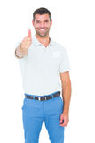 Happy male technician gesturing thumbs up. Portrait of happy male technician gesturing thumbs up on white background Stock Photos
