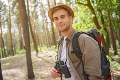 Happy male tourist enjoying the nature Royalty Free Stock Photos