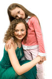Happy mam and daughter isolated Royalty Free Stock Photo