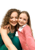 Happy mam and daughter isolated Royalty Free Stock Image