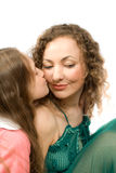 Happy mam and daughter isolated Stock Photos