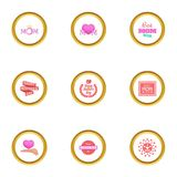 Happy mama day icons set, cartoon style Royalty Free Stock Image