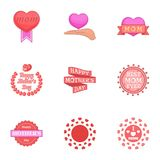 Happy mama day icons set, cartoon style Royalty Free Stock Photo