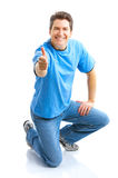 Happy man. Happy smiling man. Isolated over white background Stock Photography