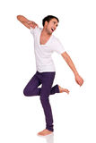 Happy man. Young happy man posing isolated on white background stock image