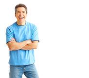 Happy man. Happy handsome man smiling. Isolated over white background stock photography