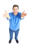 Happy man. Happy smiling man. Isolated over white background Stock Photo