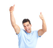 Happy man. Young happy man. Isolated over white background Royalty Free Stock Photography